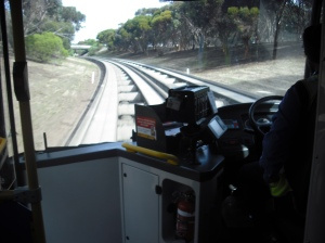 Adelaide's O-Bahn runs on concrete tracks - very fast!