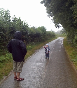 a downpour in the Berry - raincoat doing well.