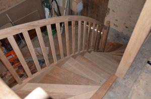 view from above - a turn, and the curved handrail