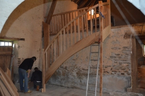 they arrived early - much of the staircase pre-assembled