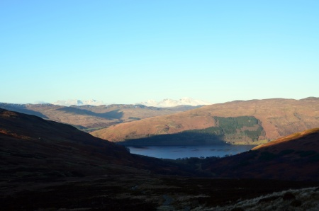 Just a glimpse of Loch Earn, and the mountains beyond, at the same time.