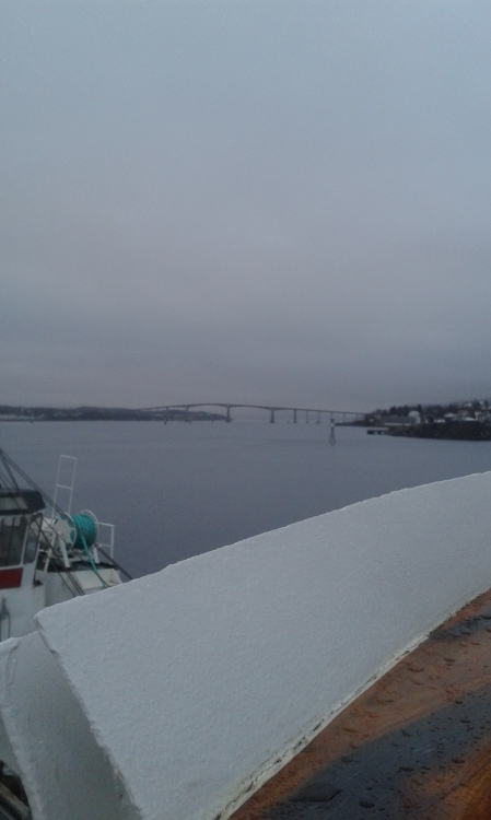 a distant view of the Gisund Bridge from the ship