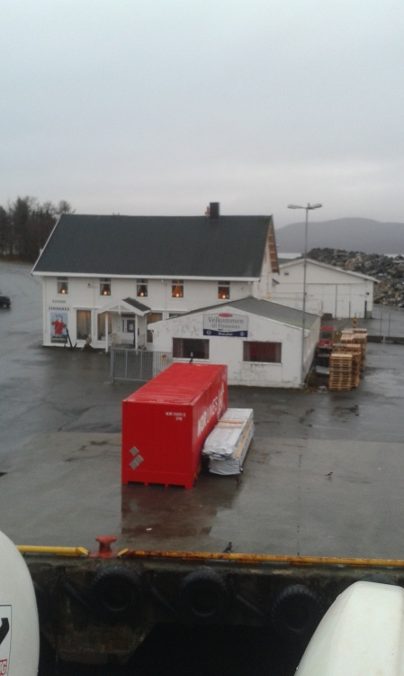 Cargo waiting for loading. it's raining in Finnsnes