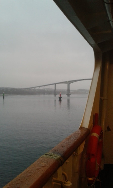 we move towards the Gisund Bridge