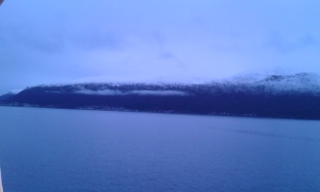 a strange effect of the evening light - around 2.00pm, approaching Tromsø